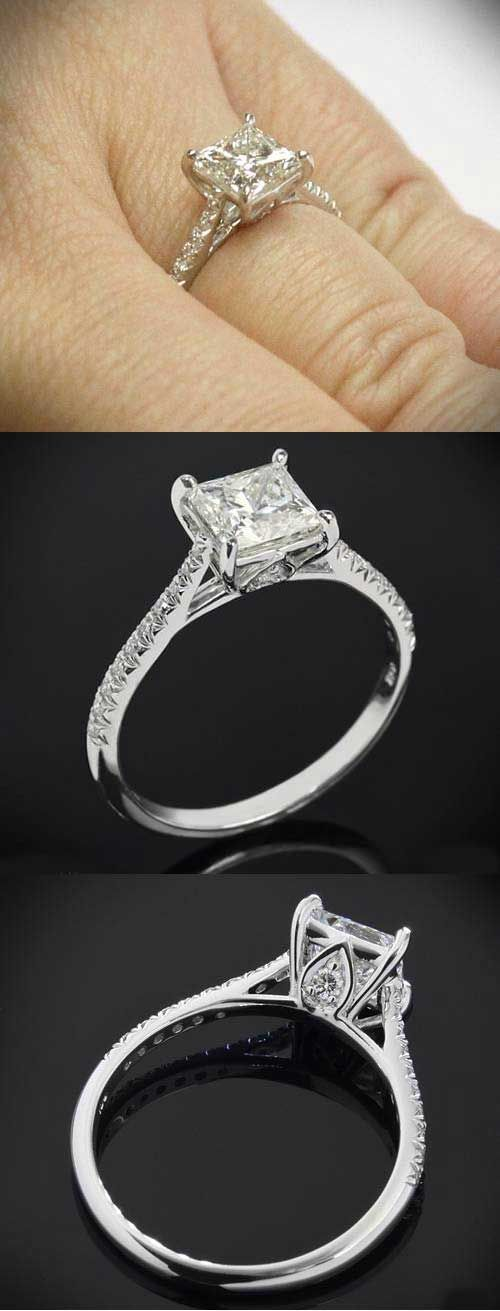 Princess cut engagement ring with 3 views of the classic tapered diamond pave setting by Vatche for Whiteflash.