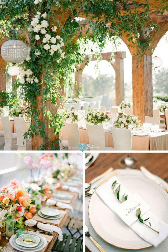 Inspiración de boda tropical. Preciosa recepción de boda al aire libre de Jose Villa. Una paleta de colores pastel suaves y un montón de detalles tropicales para un evento impresionante. Una boda íntima con tarjetas estilo mediterráneo.