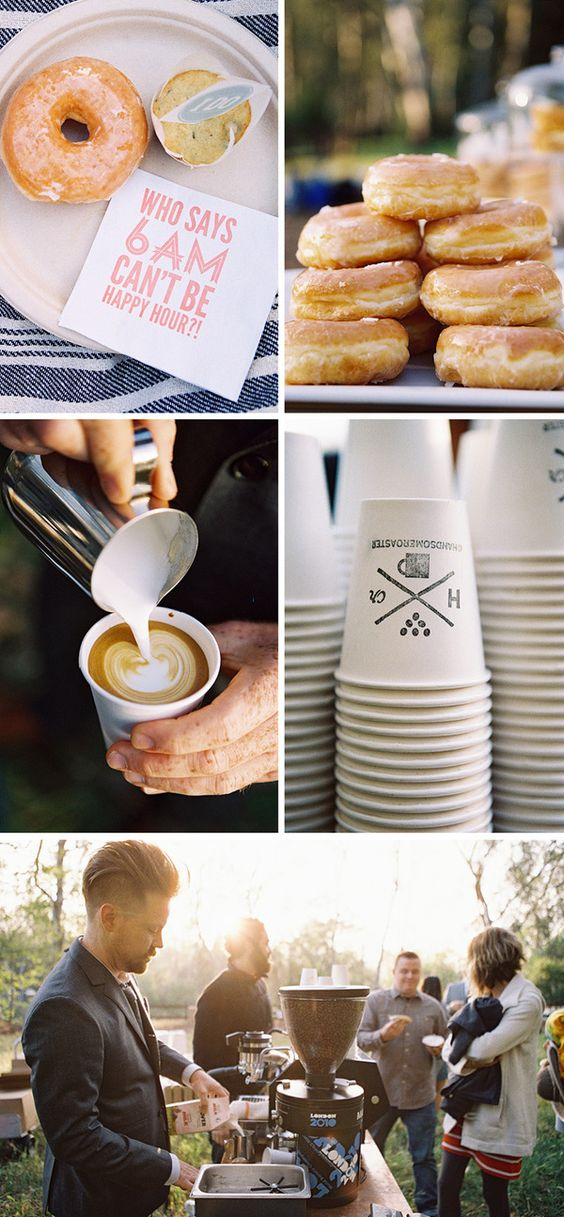 A simple and beautiful coffee and doughnut display table idea from The Barn at Twin Oaks Ranch.