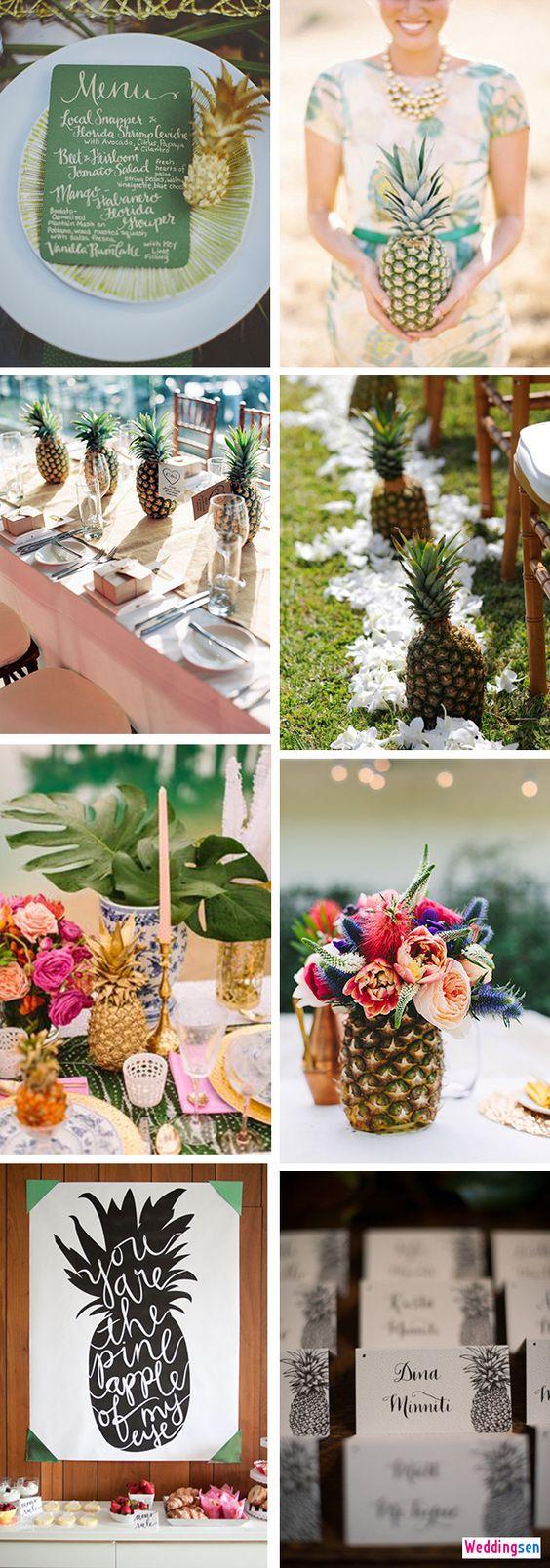 Inspiración para la decoración de bodas tropicales con piñas. Originales y únicas.