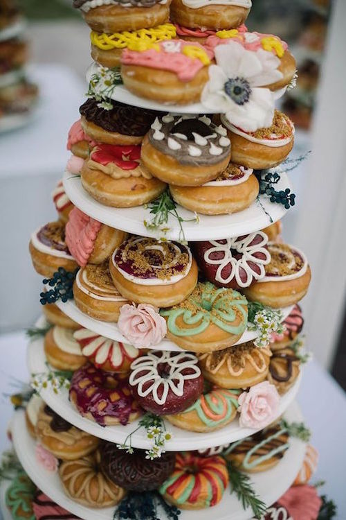 A sweet backyard garden party wedding in Utah with a doughnut tower as a wedding cake by Ali Sumsion Photography.