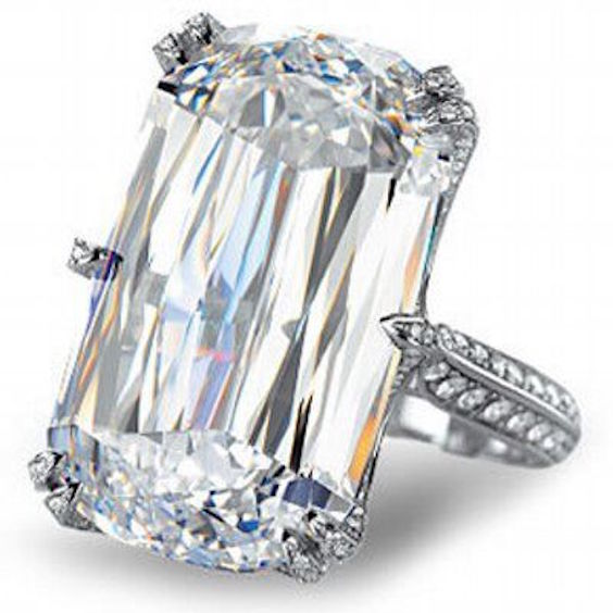 Tempted? A rare 7 million diamond ring with en emerald cut.