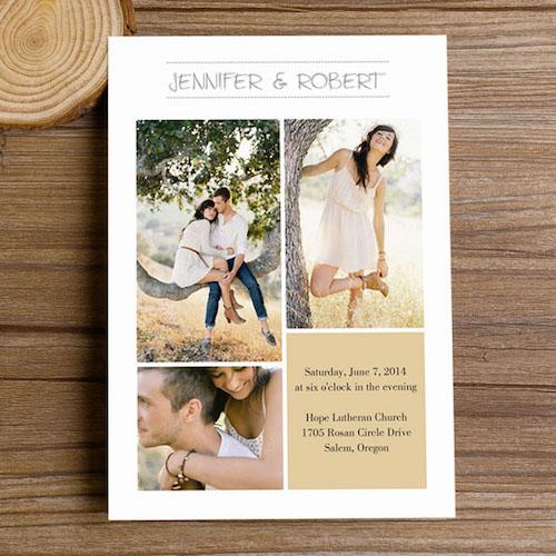Original invitación con un collage de fotos para una boda otoñal (BYWI3081).