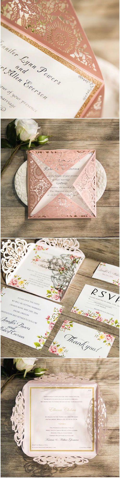 Las invitaciones cuadradas en blush con corte láser son tan románticas ¡que es difícil escoger entre ellas! (BYWWS001) Y son súper económicas!