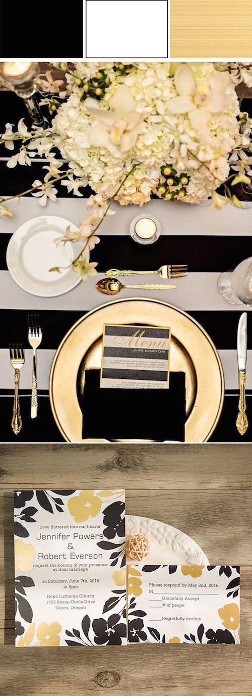 Una boda muy glam en negro y dorado merece invitaciones que hagan juego. (BYWPI203)