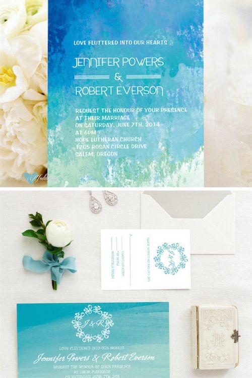 Invitaciones para bodas en la playa. Amo estos tonos de azul. (BYWI3731)