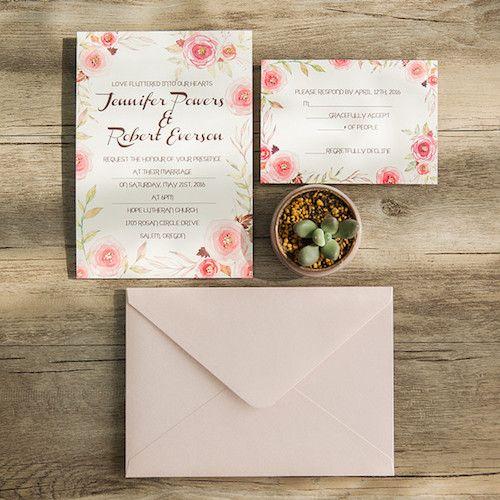 Invitaciones florales y románticas en rosa y oro (BYWFI008)