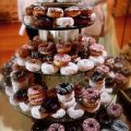 Multi-flavored doughnut wedding cake. Peace, love & little donuts. Possible flavors: pumpkin spice, apple pie, blueberry, maple creme with lots of sprinkles by filippovittori.