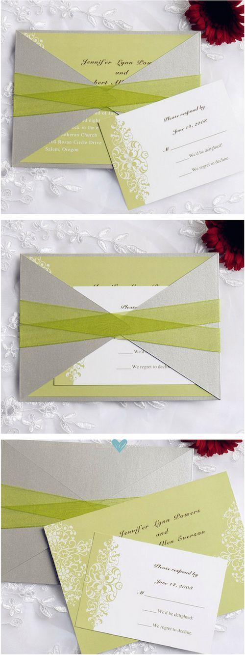 Participaciones de boda tipo bolsillo en verde menta y gris plateado con lazos. ¡Simplemente divinas! (BYWPI103) El sobre también viene en dorado, rojo, azul marino o negro y la tarjeta en el color que quieras! Diseña la tuya!