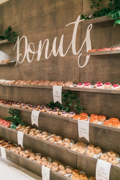 Take advantage of some wooden shelves to accommodate your doughnuts for the most fabulous and rustic doughnut wall ever!