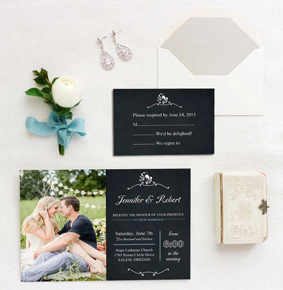 A veces escribir el texto para invitaciones de boda es sumamente simple (BYWI309). Fotografía: Rachelle Derouin Photography.