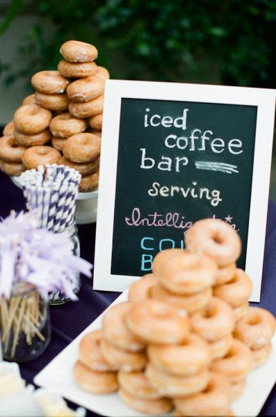 Discover the many ways to display doughnuts at a wedding! Iced coffee and donut bar for an outdoor wedding. You can do a hot chocolate and chocolate milk station with donuts instead.