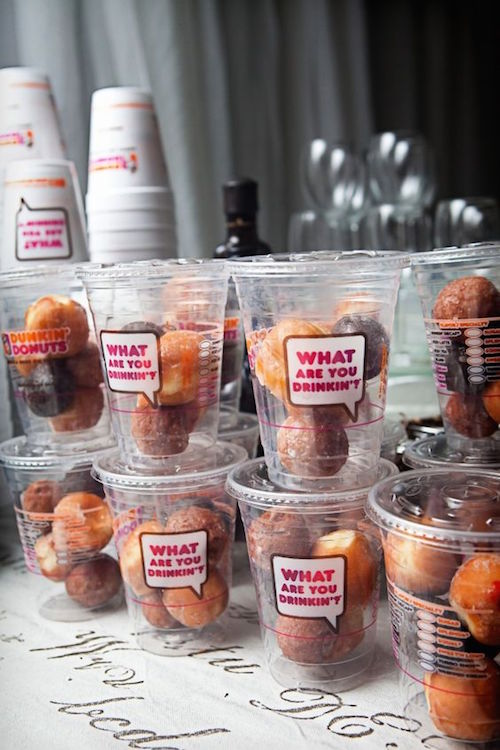 Who said you cannot run on Dunkin' at your wedding? So much yumminess all together.