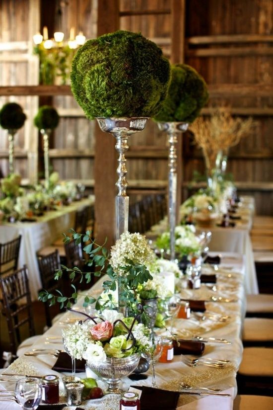 Wedding reception tablescapes for organic theme wedding.