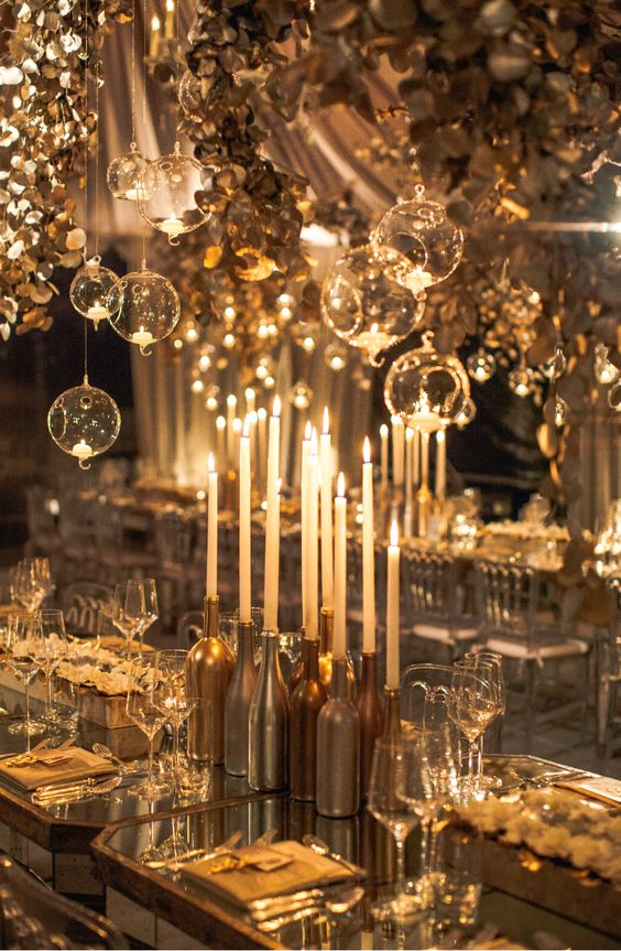 Sophisticated and magical wedding table ideas for a candlelight reception dinner.