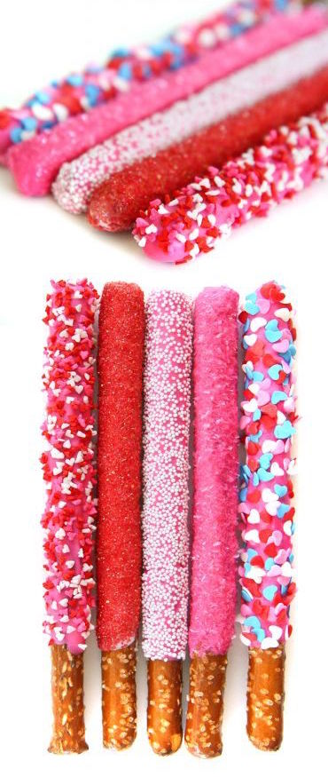 Chocolate covered pretzels are an easy to make and such a cute and delicious homemade Valentine Day gift idea.