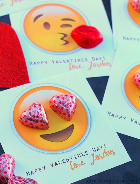 Emoji Valentine by A girl and a glue gun.
