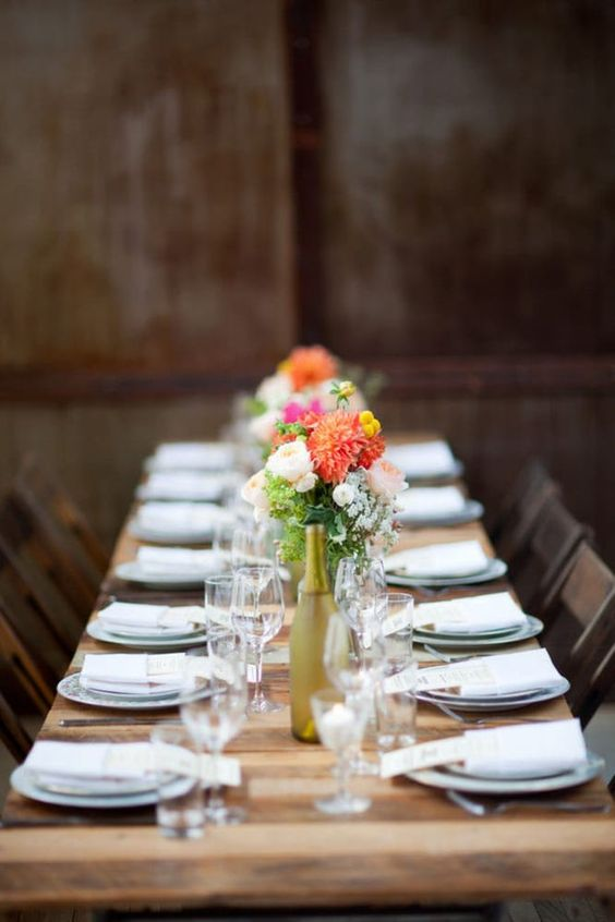 Love this table setting! Industrial wedding venues in New York. Photo of the Brooklyn Winery, Brooklyn, New York.