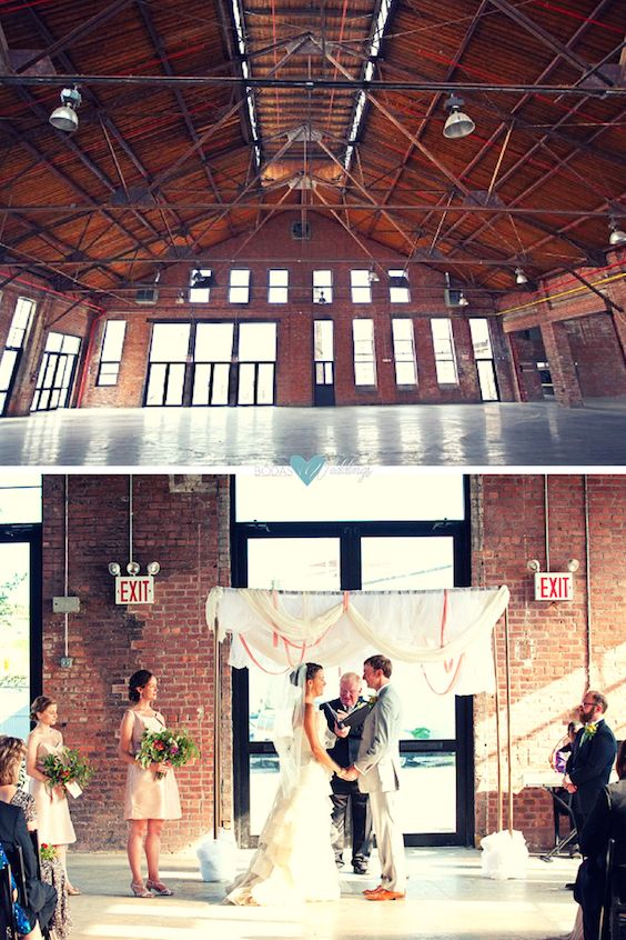 Industrial wedding venues in New York: Knockdown Center. Photography: Carolina Sandretto and Denueva Photo.