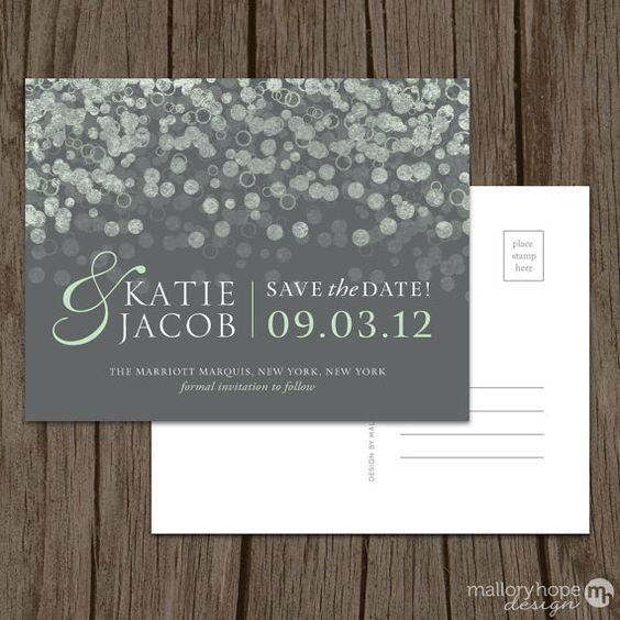 Moderno Save the Date con burbujas de champagne estilo tarjeta postal y con imán!