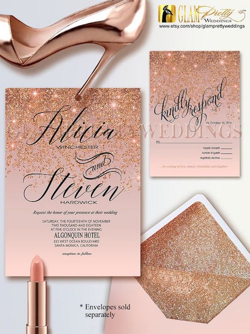 Rose gold glitter printable wedding invitation & RSVP.