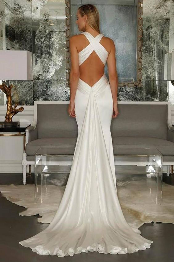 Sexy wedding dresses: backless with criss cross straps, pleated trumpet skirt by Gardeniadh. Perfect for a beach wedding.