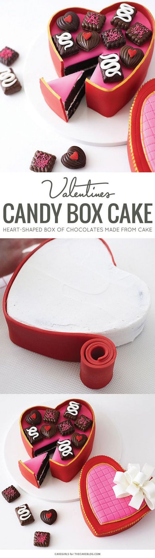 Romantic Valentine's heart candy box cake! And the recipe on the blog!