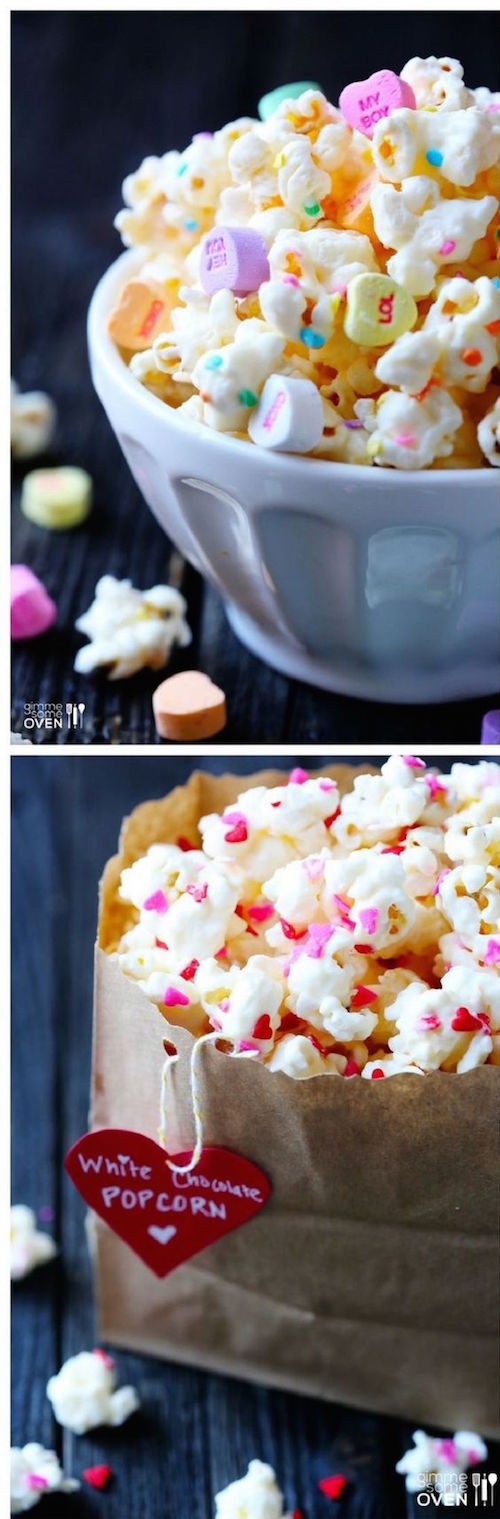 Valentine's Popcorn. Delicious homemade Valentine Day treats.