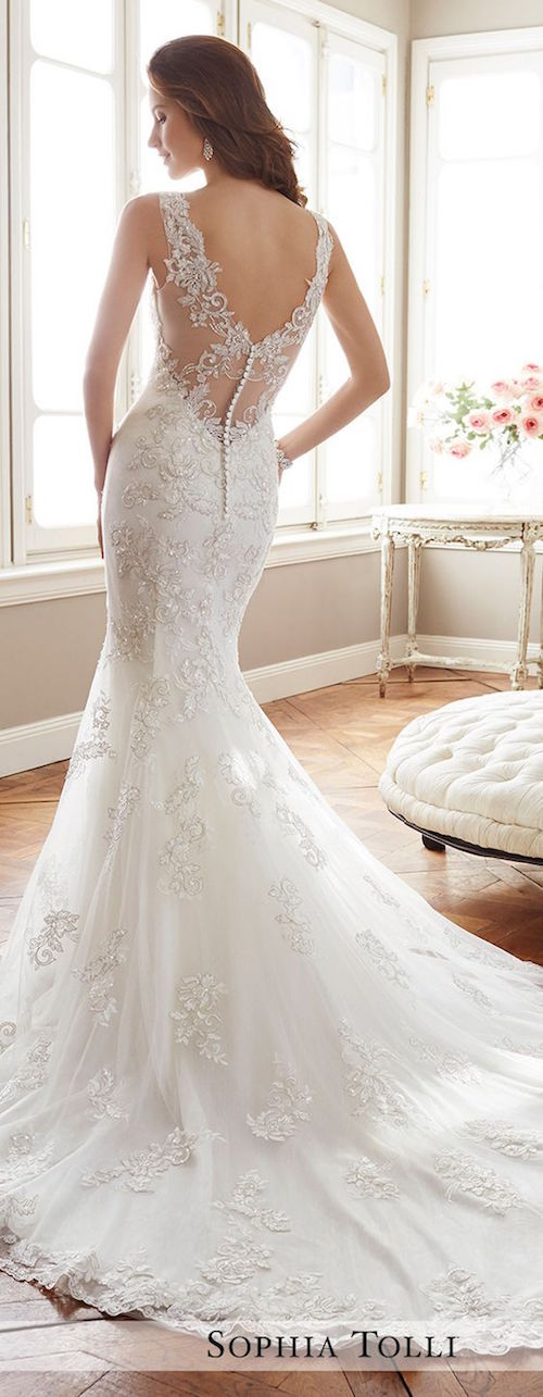 Wedding dress by Sophia Tolli Spring 2017 Bridal Collection.