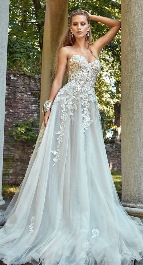Romantic and sexy bridal strapless a line wedding dress with an embroidered bodice, tulle skirt and chapel train by Galia Lahav 2017.