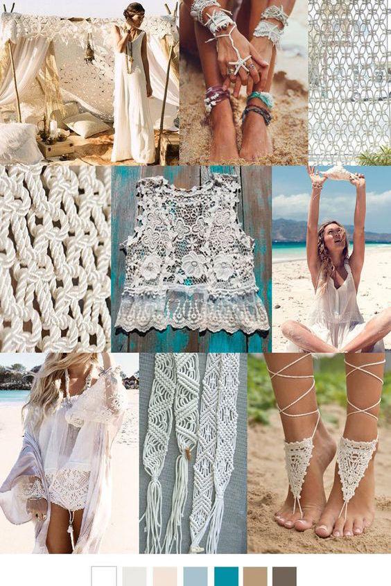 Inspírate en estas ideas para ambientar tus bodas boho en la playa y en sus paletas de colores 2017.