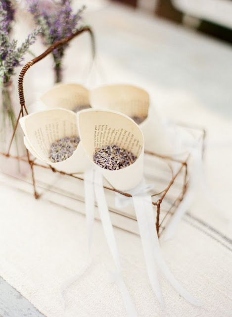 Add some lavender confetti cones to your wedding planning checklist if you are hosting a French style wedding.