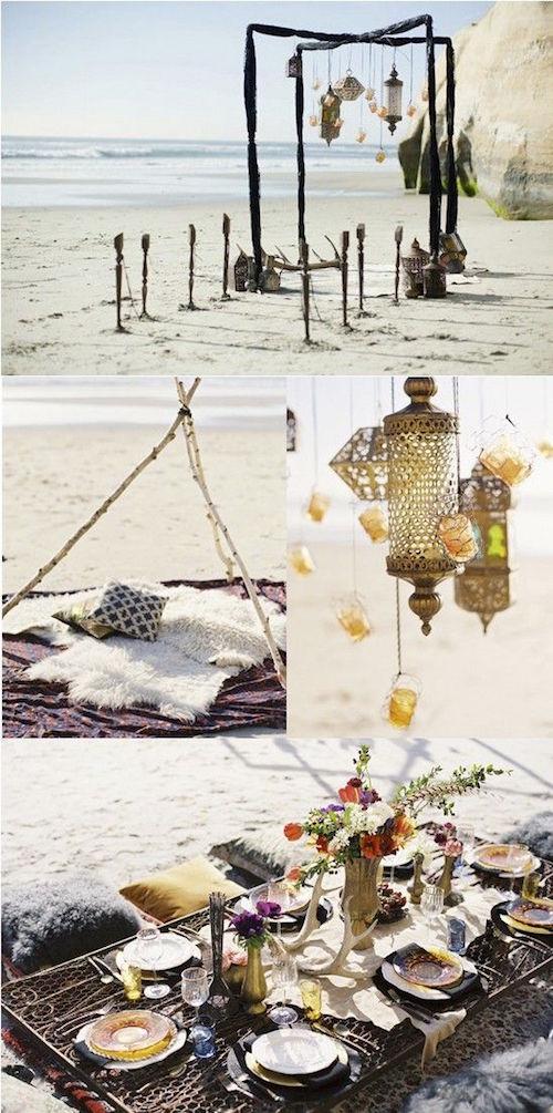 Una decoración preciosa para bodas boho en la playa.