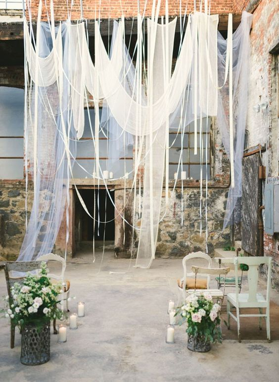 Out of all of the fabulous industrial wedding venues in New York we fell in love with the Knockdown Center, an industrial glass factory.