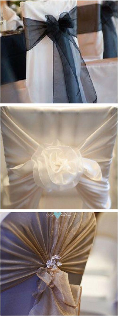 Tres ideas para anudar la decoración de las sillas de boda.