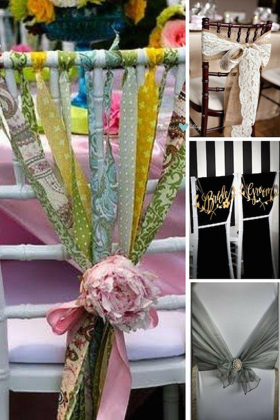 Utiliza las sillas del salón de bodas y decóralas con estas ideas originales para vestir sillas de boda.