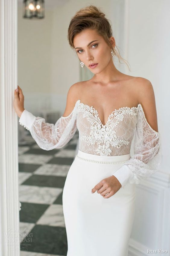 Delicate lace bodice dress by Julie Vino.