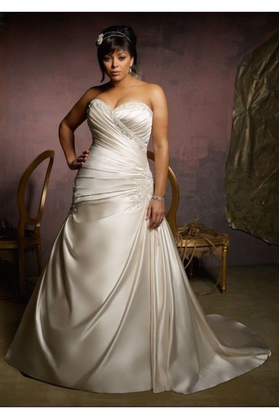 Ivory sweetheart plus size satin A-line ruched lace up sexy wedding gown.