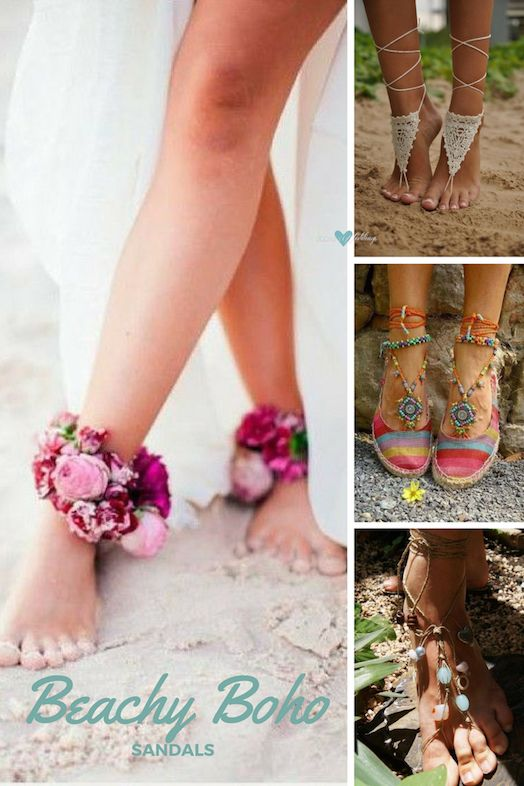 Sandalias beachy boho: Pulsera de flores. Para andar semi-descalza. Sandalias hippie-chic con toques tibetanos de colores vivos. Belleza bohemia con piedras.