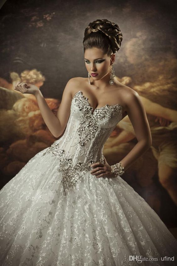 Dramatic and sexy sweetheart lace with embellished crystals ball gown.