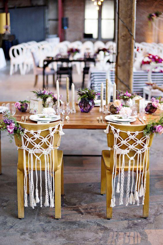 Decoración de silla para boda boho con macramé.