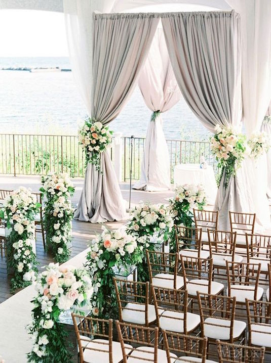 Light grey and green wedding ceremony decoration ideas.