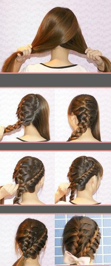 Boxer braided updo with a bow or a ponytail. Split hair into two sections and braid each section starting near the temple and braiding down.