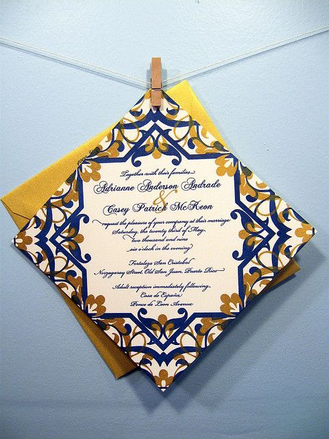 Ultra original Cuban tile invitations. Photography by Heatherjeany on Flickr.
