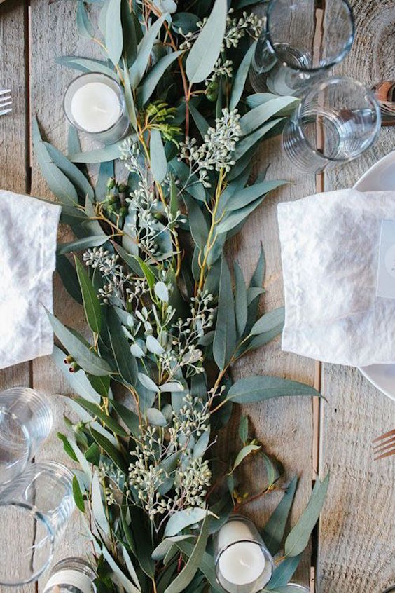 Eucalyptus leaves will not only help keep decoration costs down but it will smell terrific.