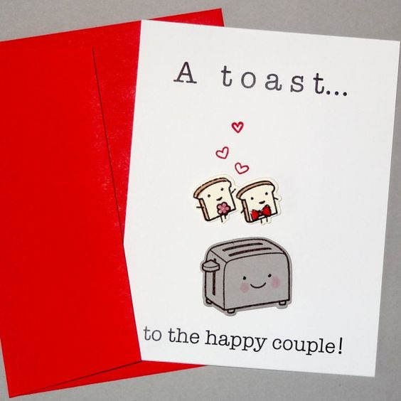 Funny engagement or wedding card.