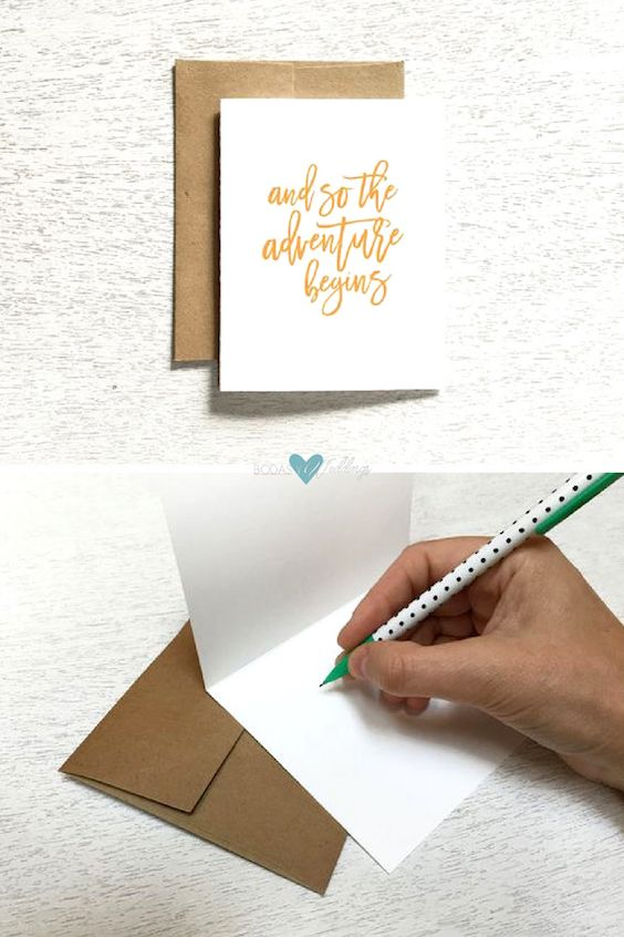 How to write a wedding card. And so the adventure begins....