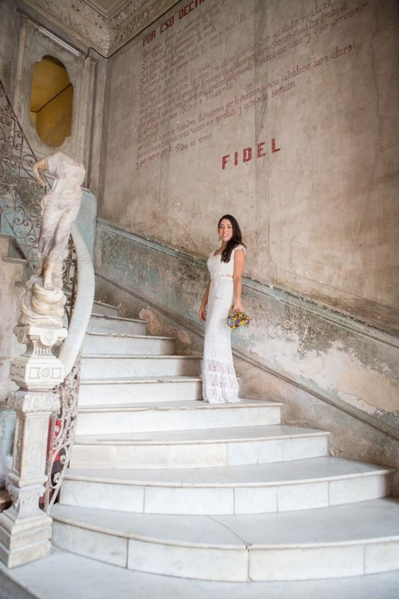 Love the dress and the stairs. Photo taken at La Guarida restaurant, Havana- Cuba. Destination Wedding Photographer: Ayenia Nour Photography.