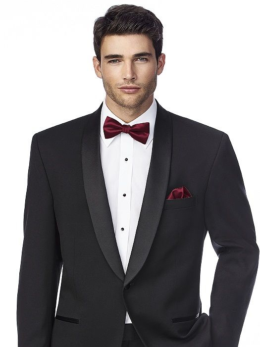 Matte satin bow tie and pocket square.
