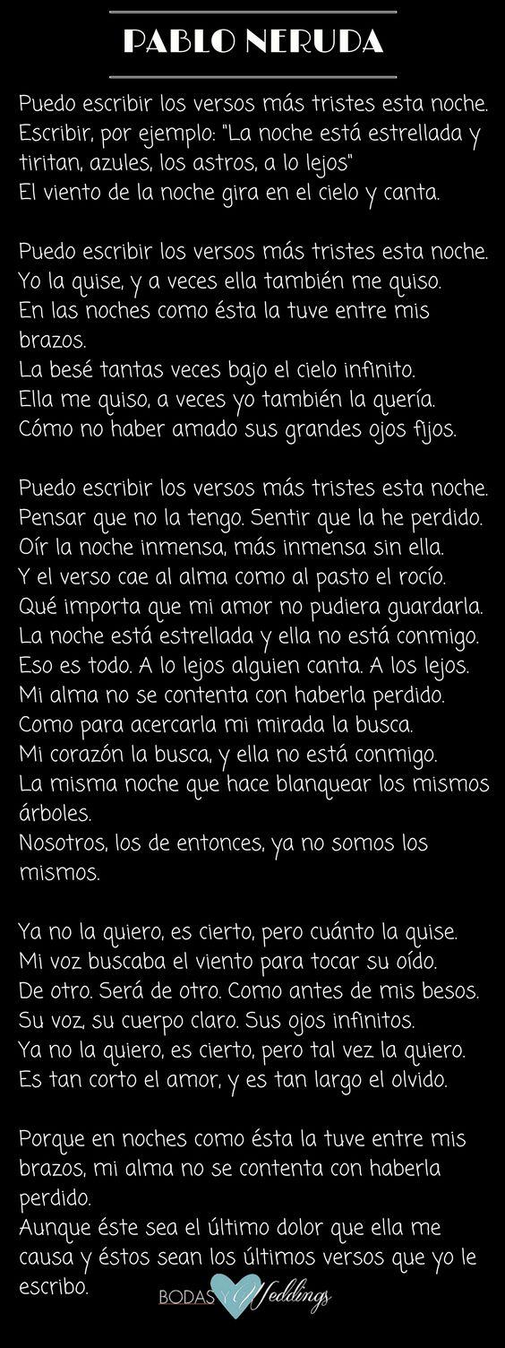 Puedo escribir los versos más tristes esta noche. Poema 20 de Pablo Neruda.